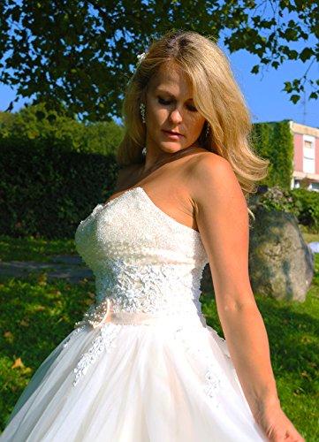 Luxus Brautkleid Hochzeitskleid NEU Braut Spitze Prinzessin Brautkleider Maßanfertigung Spitzenkleid Herzausschnitt Kleid Hochzeit Weiß Ivory nach Maß Tüll - 7