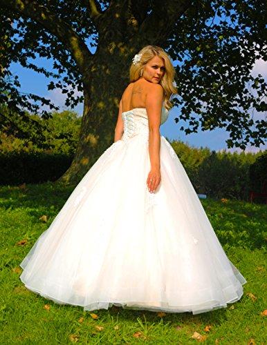 Luxus Brautkleid Hochzeitskleid NEU Braut Spitze Prinzessin Brautkleider Maßanfertigung Spitzenkleid Herzausschnitt Kleid Hochzeit Weiß Ivory nach Maß Tüll - 8