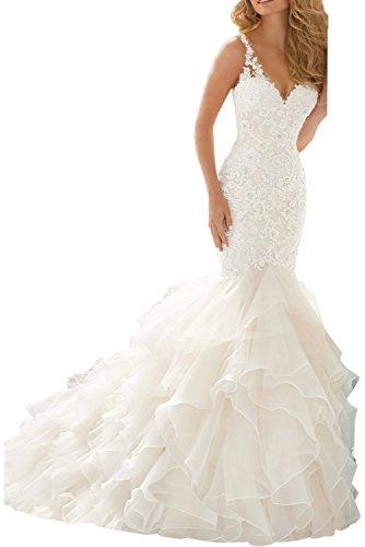Milano Bride Hochzeitskleid, Spitze, Etui, mit Applikation, Elfenbein