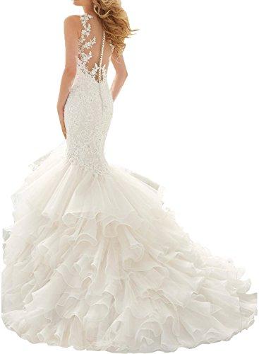 Milano Bride Damen Glaezend Herz-Ausschnitt Traeger Abendkleider Brautkleider Ballkleider Hochzeitskleider Spitzen Etui Lang mit Applikation36-Elfenbein - 2