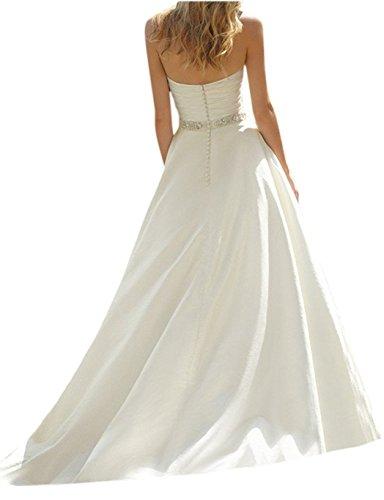 Cloverbridal Elegant Elfenbein Herzausschnitt Hochzeitskleider süße Brautkleider Brautmode Lang A-linie - 2