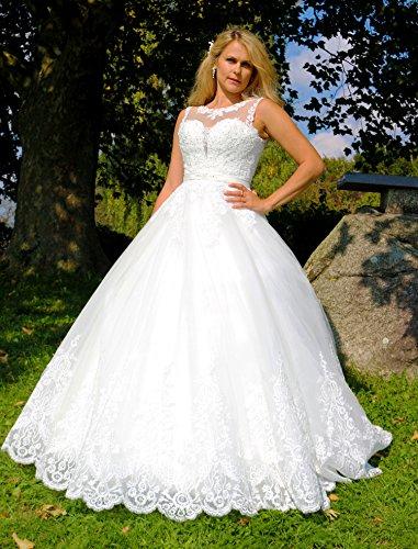 Luxus Brautkleid Hochzeitskleid NEU Braut Spitze mit Träger Prinzessin Brautkleider Maßanfertigung Spitzenkleid Herzausschnitt Kleid Hochzeit Weiß Ivory nach Maß Tüll - 2