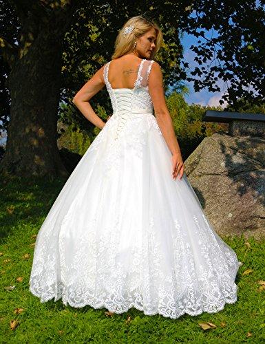 Luxus Brautkleid Hochzeitskleid NEU Braut Spitze mit Träger Prinzessin Brautkleider Maßanfertigung Spitzenkleid Herzausschnitt Kleid Hochzeit Weiß Ivory nach Maß Tüll - 3