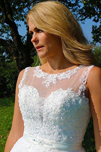 Luxus Brautkleid Hochzeitskleid NEU Braut Spitze mit Träger Prinzessin Brautkleider Maßanfertigung Spitzenkleid Herzausschnitt Kleid Hochzeit Weiß Ivory nach Maß Tüll - 4