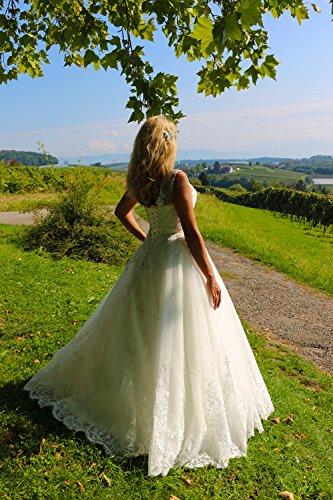 Luxus Brautkleid Hochzeitskleid NEU Braut Spitze mit Träger Prinzessin Brautkleider Maßanfertigung Spitzenkleid Herzausschnitt Kleid Hochzeit Weiß Ivory nach Maß Tüll - 7