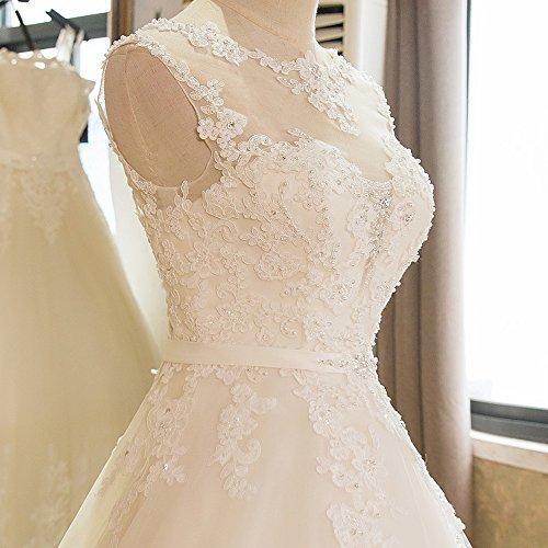 Luxus Brautkleid Hochzeitskleid NEU Braut Spitze mit Träger Prinzessin Brautkleider Maßanfertigung Spitzenkleid Herzausschnitt Kleid Hochzeit Weiß Ivory nach Maß Tüll - 8