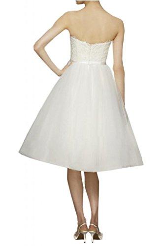 Milano Bride Suess Herz-Ausschnitt Spitze Brautkleider Hochzeitskleider Brautmode Kurz Knielang-40 Weiss - 2