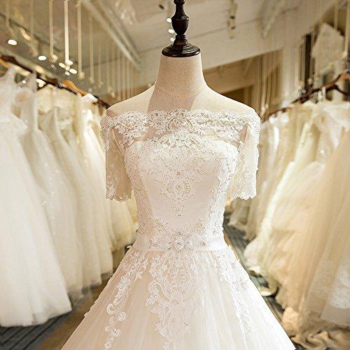 Luxus Brautkleid Hochzeitskleid NEU Braut Spitze mit Träger Ärmel Prinzessin Brautkleider Maßanfertigung Spitzenkleid Herzausschnitt Kleid Hochzeit Weiß Ivory nach Maß Tüll - 2