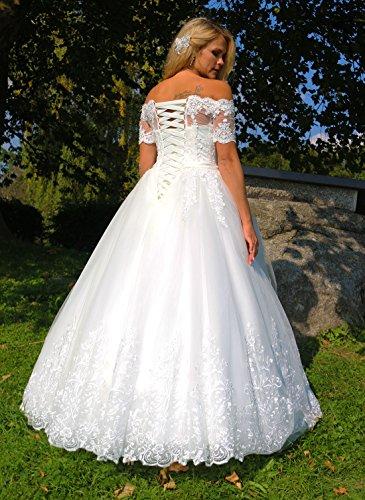 Luxus Brautkleid Hochzeitskleid NEU Braut Spitze mit Träger Ärmel Prinzessin Brautkleider Maßanfertigung Spitzenkleid Herzausschnitt Kleid Hochzeit Weiß Ivory nach Maß Tüll - 4