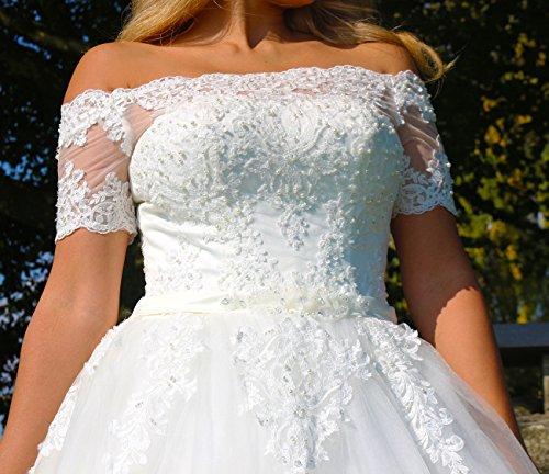 Luxus Brautkleid Hochzeitskleid NEU Braut Spitze mit Träger Ärmel Prinzessin Brautkleider Maßanfertigung Spitzenkleid Herzausschnitt Kleid Hochzeit Weiß Ivory nach Maß Tüll - 5