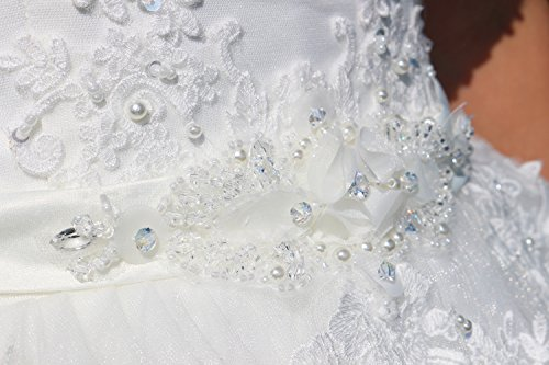 Luxus Brautkleid Hochzeitskleid NEU Braut Spitze mit Träger Ärmel Prinzessin Brautkleider Maßanfertigung Spitzenkleid Herzausschnitt Kleid Hochzeit Weiß Ivory nach Maß Tüll - 6