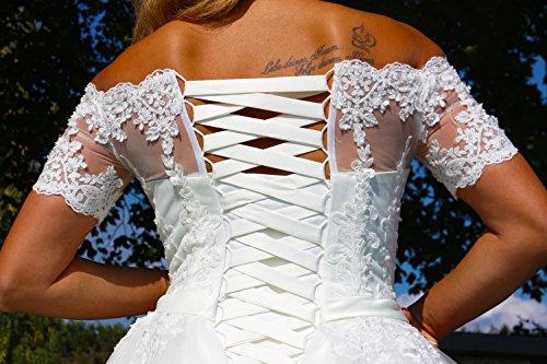 Luxus Brautkleid Hochzeitskleid NEU Braut Spitze mit Träger Ärmel Prinzessin Brautkleider Maßanfertigung Spitzenkleid Herzausschnitt Kleid Hochzeit Weiß Ivory nach Maß Tüll - 7