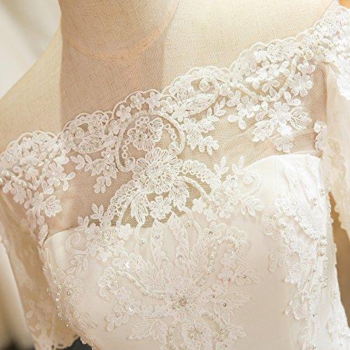 Luxus Brautkleid Hochzeitskleid NEU Braut Spitze mit Träger Ärmel Prinzessin Brautkleider Maßanfertigung Spitzenkleid Herzausschnitt Kleid Hochzeit Weiß Ivory nach Maß Tüll - 8