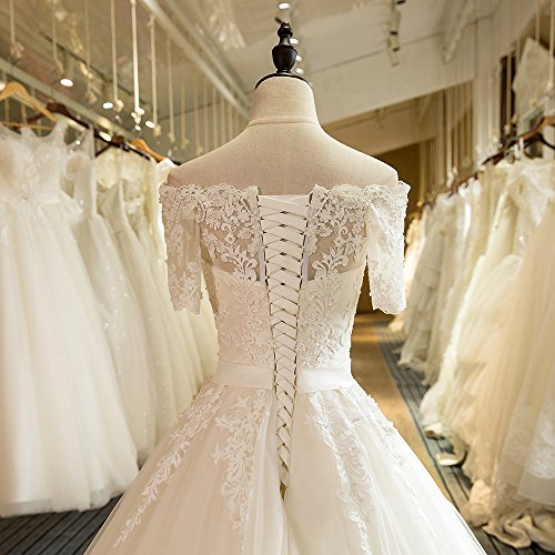 Luxus Brautkleid Hochzeitskleid NEU Braut Spitze mit Träger Ärmel Prinzessin Brautkleider Maßanfertigung Spitzenkleid Herzausschnitt Kleid Hochzeit Weiß Ivory nach Maß Tüll - 9