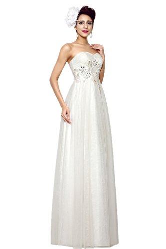 Promgirl House Damen Beliebt Spitze A Linie Herz-Ausschnitt Brautkleider Hochzeitskleider Bodenlang-38 Weiss - 3