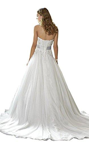 Cloverbridal Damen Elegant Herzausschnitt Hochzeitskleider süße Brautkleider Brautmode Lang A-linie - 2
