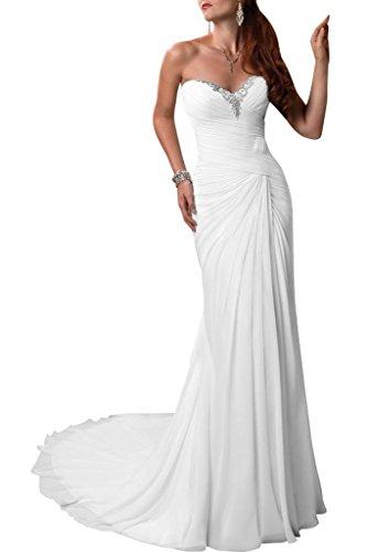 Gorgeous Bride Schlichtes Etui Brautkleid mit Herz-Ausschnitt, Weiss