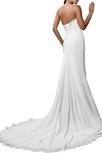Gorgeous Bride Schlicht Herz-Ausschnitt Lang Chiffon Etui Brautkleider Hochzeitskleider -40 Weiss - 2