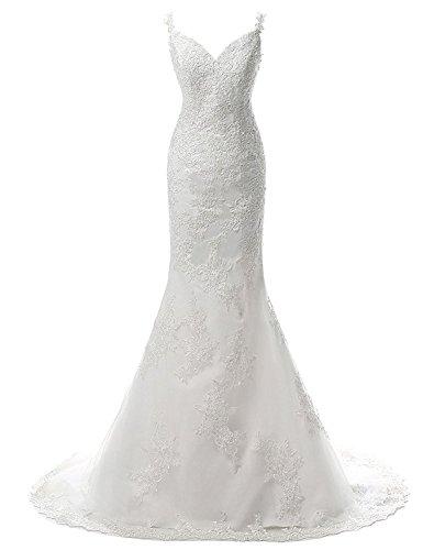JAEDEN Meerjungfrau Hochzeitskleid mit V-Ausschnitt, Elfenbein