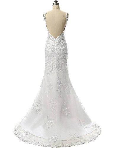 JAEDEN Damen V-Ausschnitt Spitze Meerjungfrau Hochzeitskleid Lang Rueckenfrei Brautkleid Elfenbein EUR38 - 2