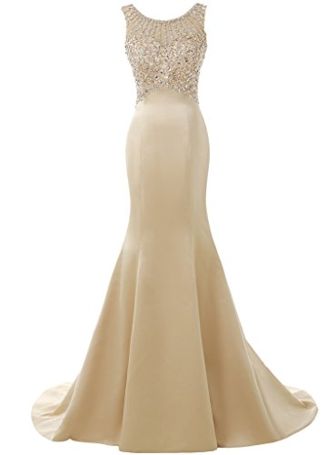 Solovedress Langes Meerjungfrau Brautkleid, Champagner