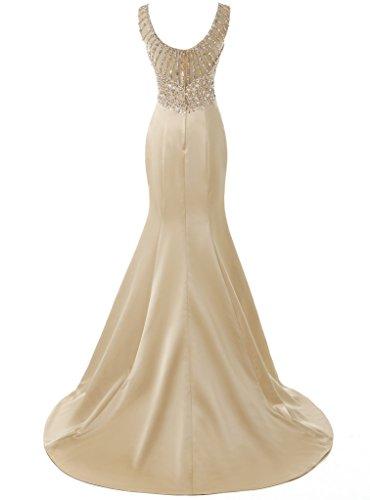 Solovedress Frauen Langes Meerjungfrau Prom Kleid Perlen Abendkleider Brautkleid Brautjungfer (Champagner, Eur48) - 2