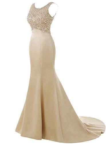 Solovedress Frauen Langes Meerjungfrau Prom Kleid Perlen Abendkleider Brautkleid Brautjungfer (Champagner, Eur48) - 3