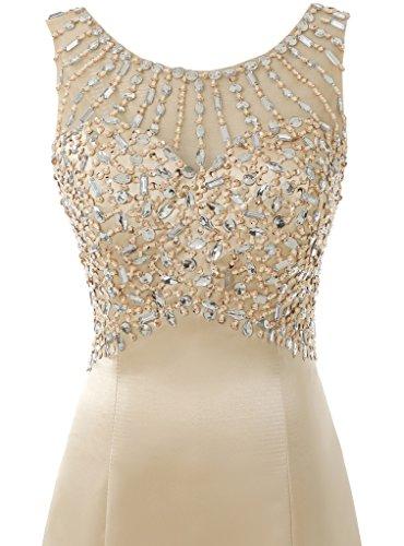 Solovedress Frauen Langes Meerjungfrau Prom Kleid Perlen Abendkleider Brautkleid Brautjungfer (Champagner, Eur48) - 4