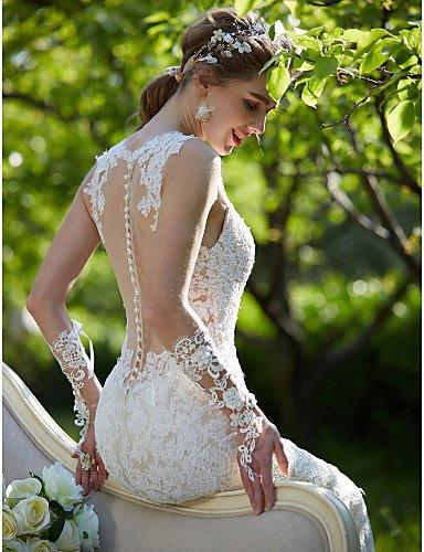 Heart&M Trompete Meerjungfrau Hochzeitskleid - Schick & Modern Durchsichtig Farbige Brautkleider Hof Schleppe Schmuck Spitze mit , blushing pink - 2
