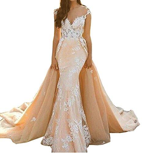 JulietCouture Schier Meerjungfrau Hochzeitskleid mit Illusion Scoop Neck Spitze