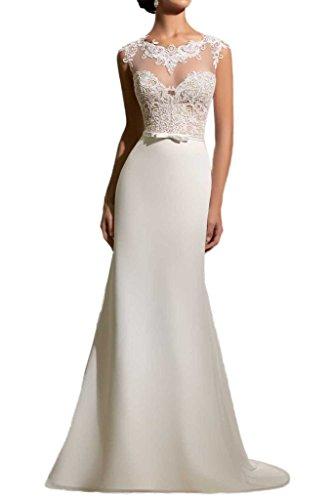 Milano Bride Elegantes, langes  Brautkleid aus Chiffon und Spitze
