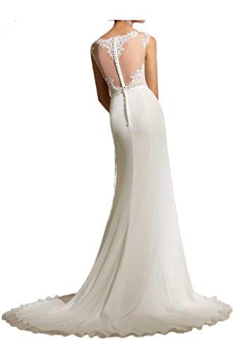 Milano Bride Elegant Elfenbein Spitze Figurbetont Hochzeitskleider Brautmode Lang Chiffon Brautkleider neu-36 Elfenbein - 2