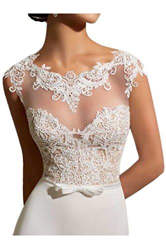 Milano Bride Elegant Elfenbein Spitze Figurbetont Hochzeitskleider Brautmode Lang Chiffon Brautkleider neu-36 Elfenbein - 3