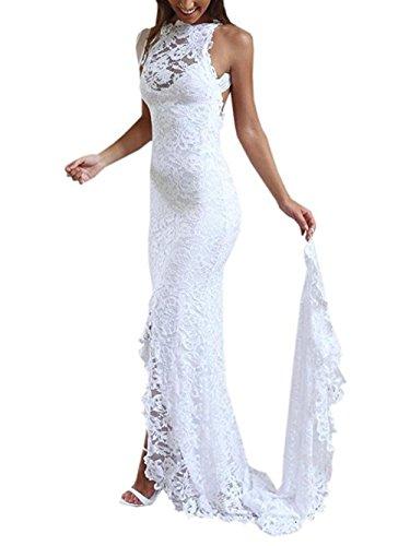 NUOJIA Rückenfreies Hochzeitskleid, Meerjungfraustil, Elfenbein