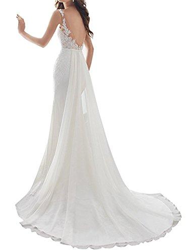 ANJURUISI Damen Sexy V-Back Meerjungfrau ?rmelloses Hochzeitskleid f¨¹r die Braut Elfenbein-46 - 2