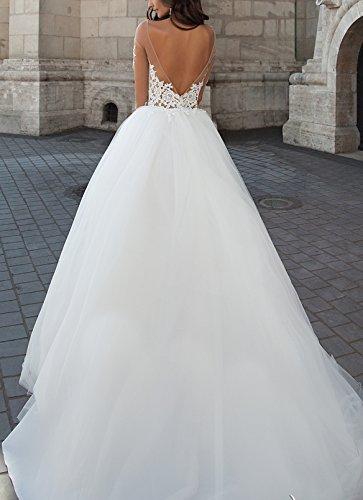 Changjie Damen Illusionsausschnitt Brautkleider Hochzeitskleider Langarm Hochzeitskleider Lang Prinzessin - 2