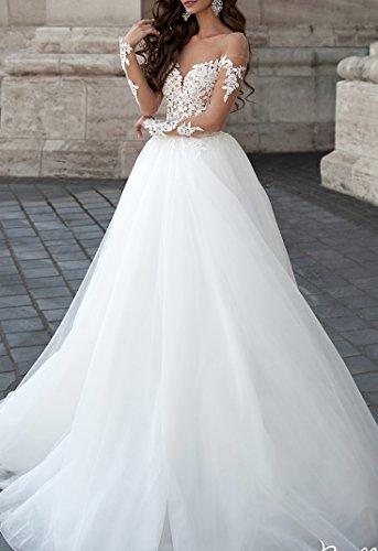 Changjie Damen Illusionsausschnitt Brautkleider Hochzeitskleider Langarm Hochzeitskleider Lang Prinzessin - 3