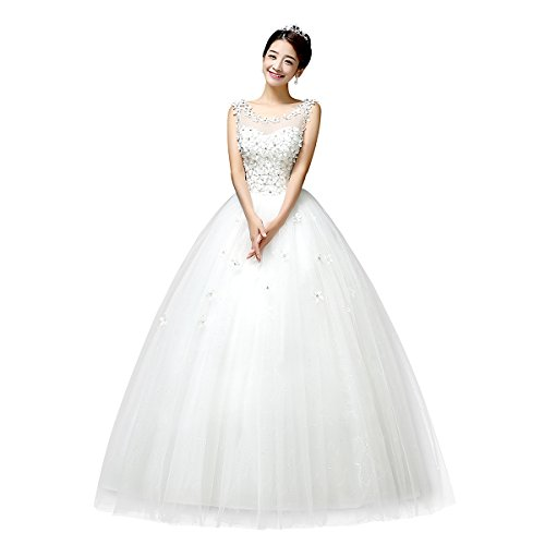 Viktion Damen Lang Hochzeitkleid Hochzeitskleider Brautkleider Hochzeit Kleid weiß lang Abendkleid … (30/ S) - 2