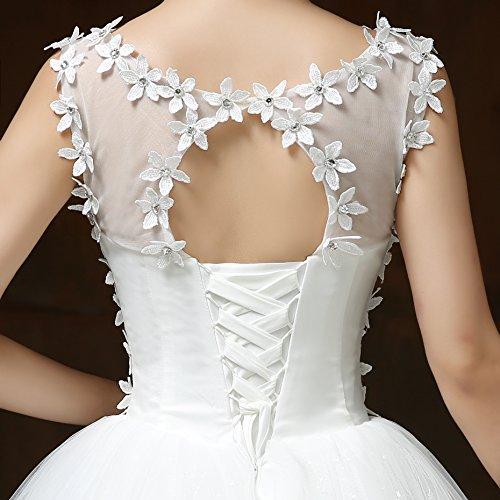 Viktion Damen Lang Hochzeitkleid Hochzeitskleider Brautkleider Hochzeit Kleid weiß lang Abendkleid … (30/ S) - 3