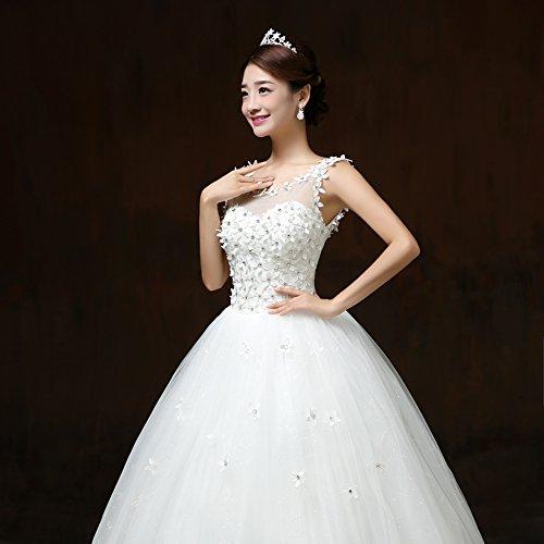 Viktion Damen Lang Hochzeitkleid Hochzeitskleider Brautkleider Hochzeit Kleid weiß lang Abendkleid … (30/ S) - 4