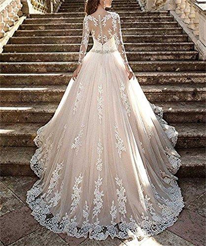 Cloverbridal Elegant A Linie Lang Ärmel Hochzeitskleider Prinzessin für Damen Tüll Spitze Brautkleider - 3