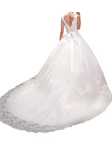 Milano Bride Prinzess Tuell Hochzeitskleider Brautkleider Brautmode Spitze Ballkleider Duchesse Band Kristall Schleife-48-Weiss - 2