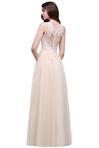 Elegantes Spitzen Abendkleid, Champagner 32