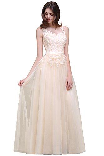 Damen Elegant Spitzen Abendkleid Tüll Kleid Festlich Applique lang Champagner 32 - 2