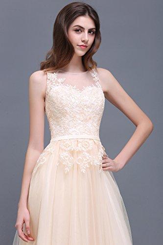 Damen Elegant Spitzen Abendkleid Tüll Kleid Festlich Applique lang Champagner 32 - 3