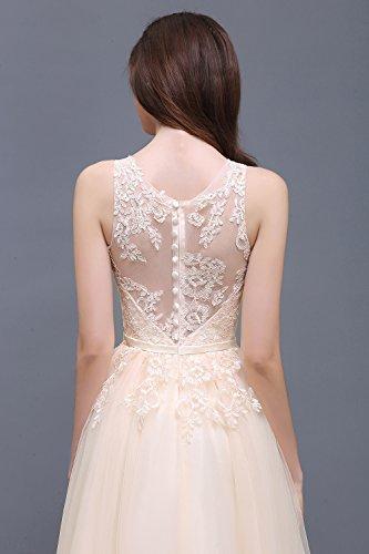 Damen Elegant Spitzen Abendkleid Tüll Kleid Festlich Applique lang Champagner 32 - 4