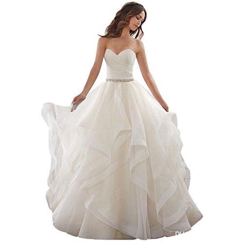 NUOJIA Trägerloses Hochzeitskleid, Elfenbein