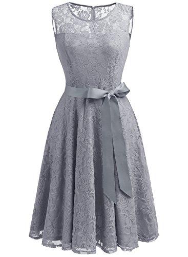 Dressystar Brautjungfernkleid mit Spitze, Grau