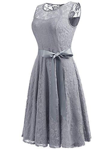 Dressystar DS0009 AbendKleid Ärmellos Kurz Brautjungfern Kleid Spitzen Rundhals Damen Kleider Grau M - 2