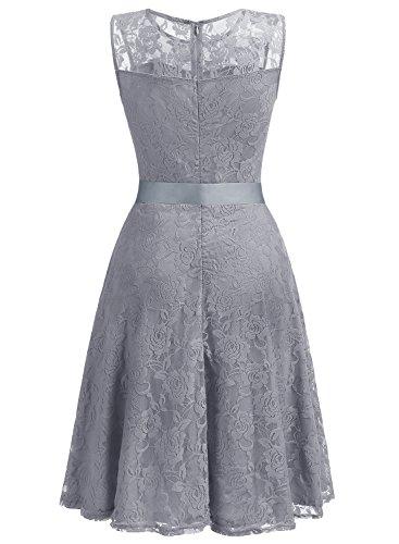Dressystar DS0009 AbendKleid Ärmellos Kurz Brautjungfern Kleid Spitzen Rundhals Damen Kleider Grau M - 3